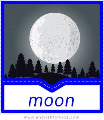 English flashcard, nature vocabulary, moon