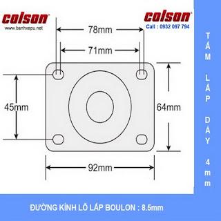 Bảng vẽ kích thước tấm lắp bánh xe xoay có khóa Nylon 6 chịu trọng 122kg | S2-4256-255C-B4W www.banhxepu.net