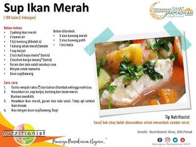 menu berbuka puasa dan sahur simple sup ikan merah