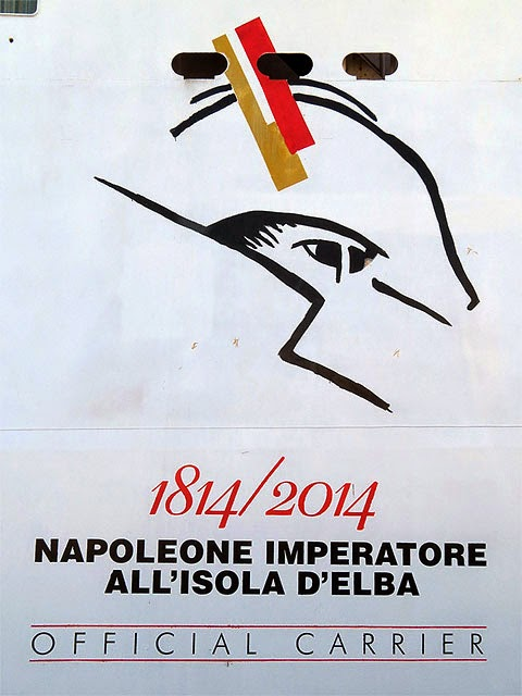 Napoleon and the Elba logo, Toremar ferry, port of Livorno