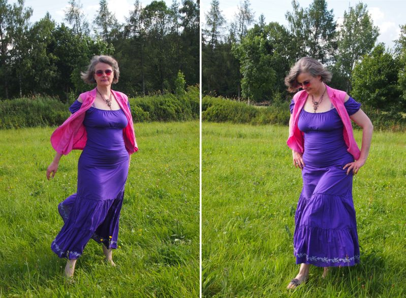 Maxirock und Carmenshirt in ultra violet kombiniert mit pinker Weste