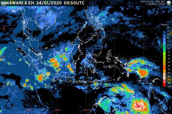 BMKG: Waspada Potensi Hujan Lebat (24-29 Januari 2020) (sumber: bmkg.go.id)