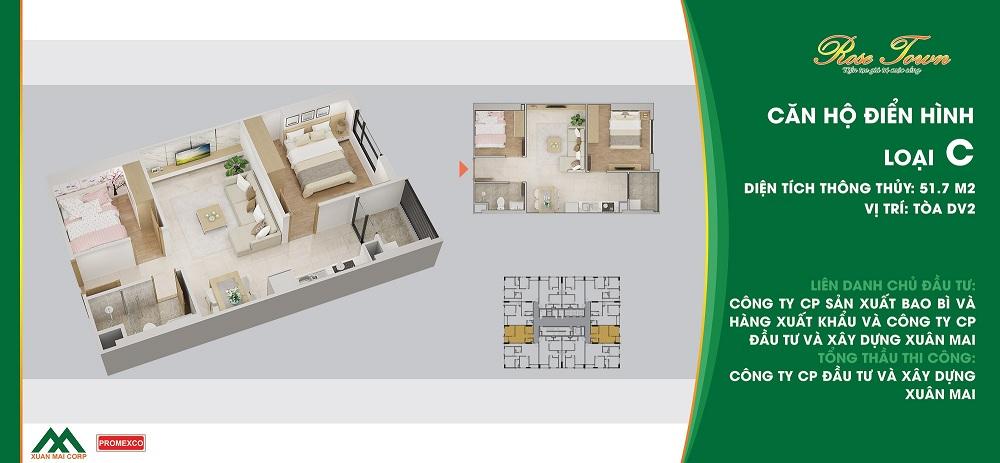 Thiết kế căn hộ 51.7m2 chung cư Rose Town