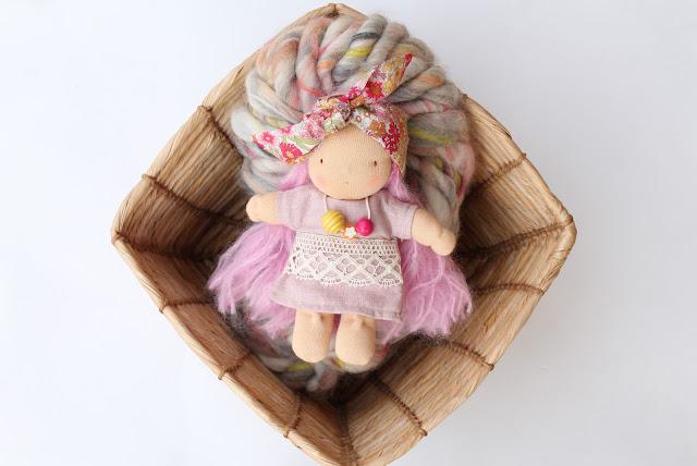 waldorf;doll;yarn;knit collage;basket;crafts