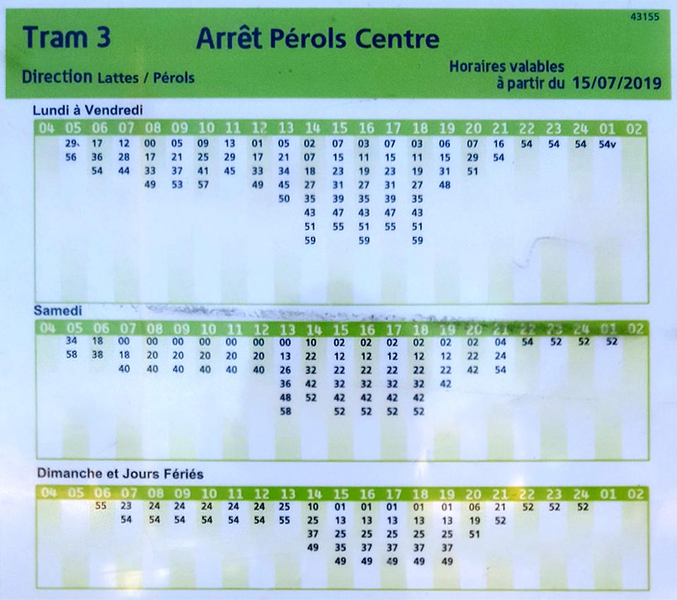Arrêt Pérols Centre - Tram 3