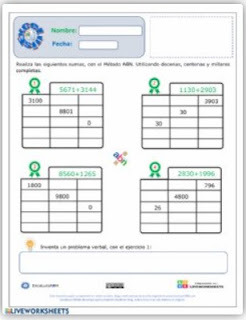 Ficha interactiva: Suma incompletas ABN.
