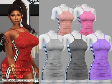 Halter Dress Stripe for The Sims 4