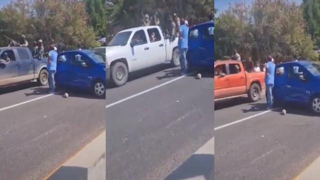 Convoy de Sicarios con sus cajas repletas de Sicarios en sus camionetas se topan con bloqueo de manifestantes en carretera y los dejan pasar como si nada hasta abrieron camino