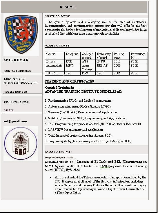 Resume Templates - Free Download Of Resume Format