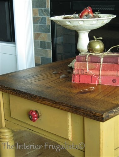 Painted oak side table with dark walnut stained top.