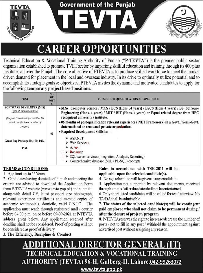 Technical Education and Vocational Training Authority Latest Jobs  - TEVTA 2021