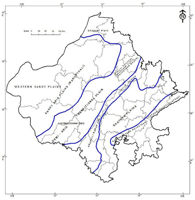 Physiographic Divisions of Rajasthan Map