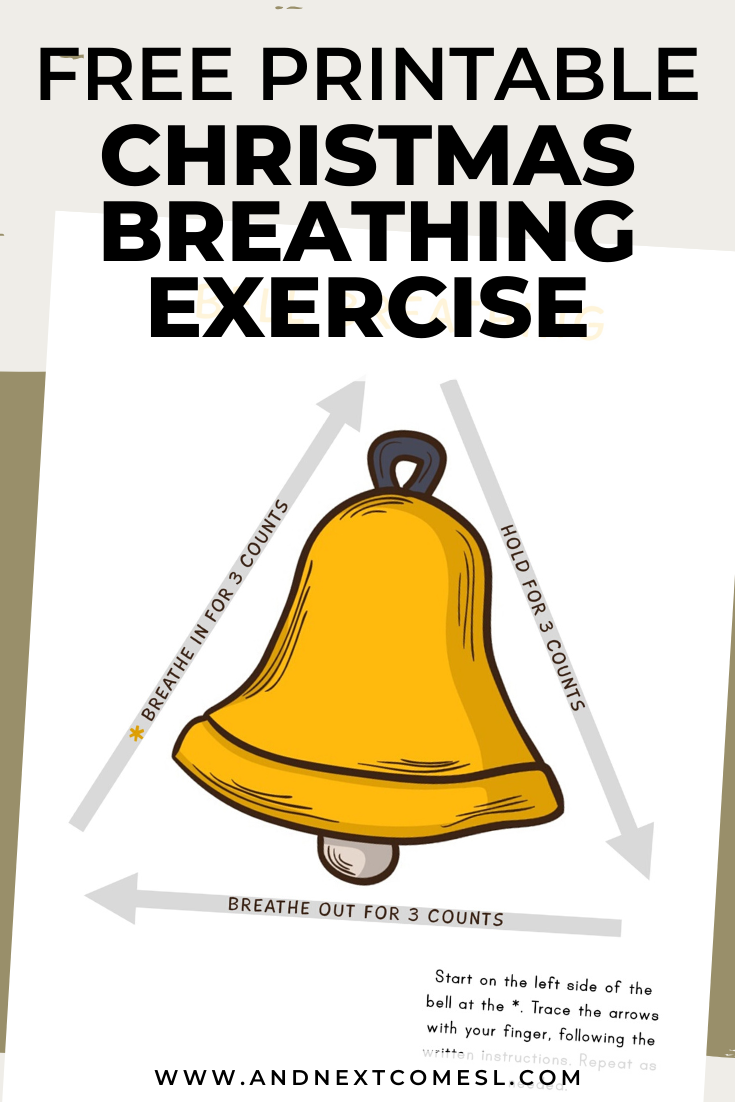 Christmas bell deep breathing exercise for kids with free printable mindfulness poster
