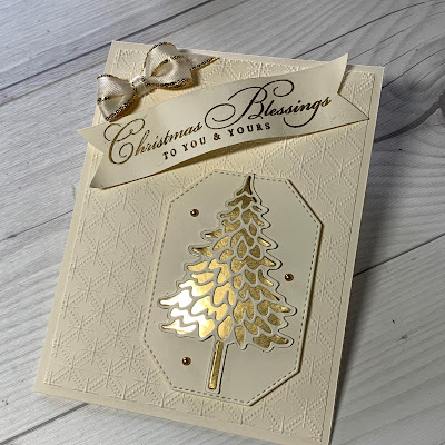 Christmas Card with embossed card front and a Gold Foil Christmas Tree