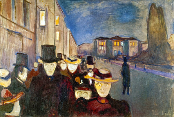 Edvard Munch, Evening on the Karl Johan street, Macabre Art, Macabre Paintings, Horror Paintings, Freak Art, Freak Paintings, Horror Picture, Terror Pictures
