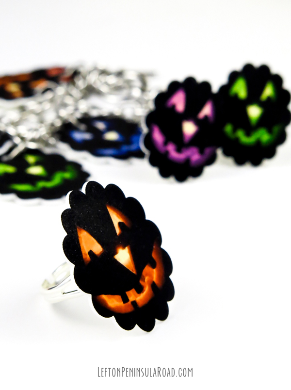 Halloween Rings from shrink plastic.