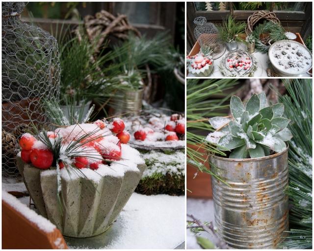 Weihnachtsdeko Gartentisch mit Schnee