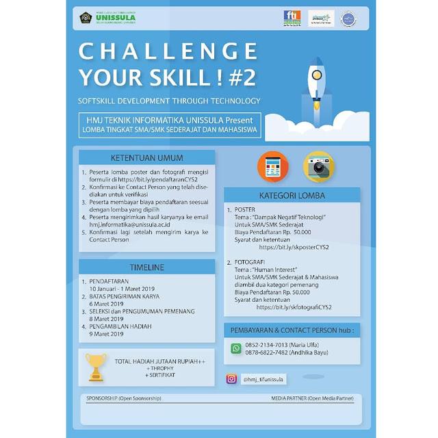 Lomba Desain Poster & Fotografi Challenge Your Skill 2019 SMA Sederajat Mahasiswa