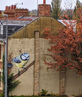 Mural of a Blue Tit in Milton Keynes