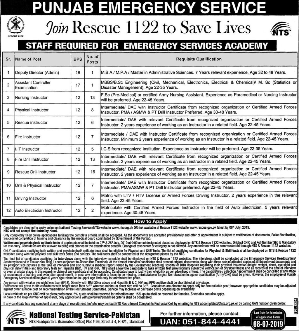 Jobs in Rescue 1122 Punjab Emergency Service 22 June 2019
