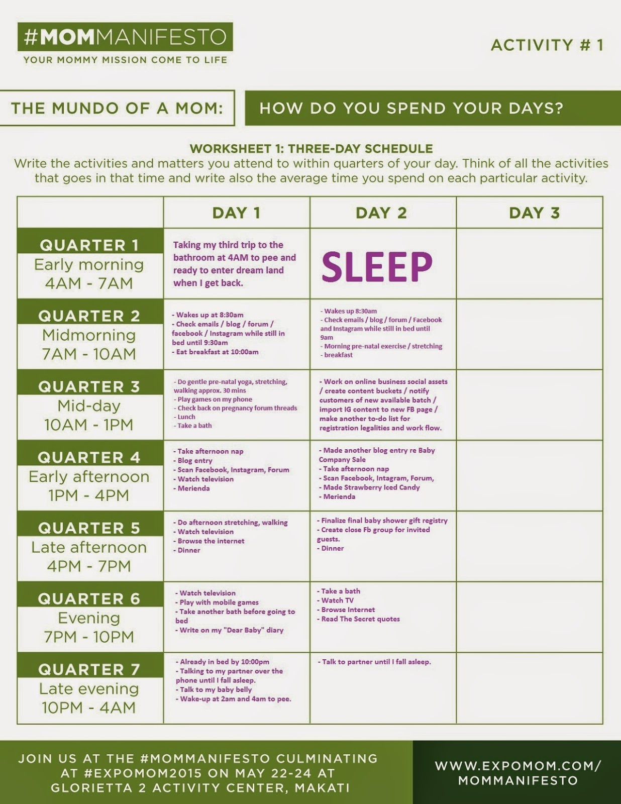 Mommy Mundo Mommanifesto Day 2 Worksheet