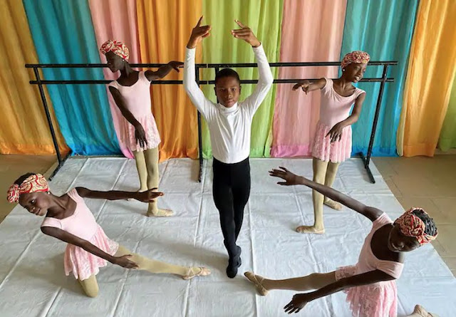 Anthony Mmesoma Madu, an 11-year-old ballet dancer, poses during a rehearsal with other students at the Leap of Dance Academy in Lagos, Nigeria