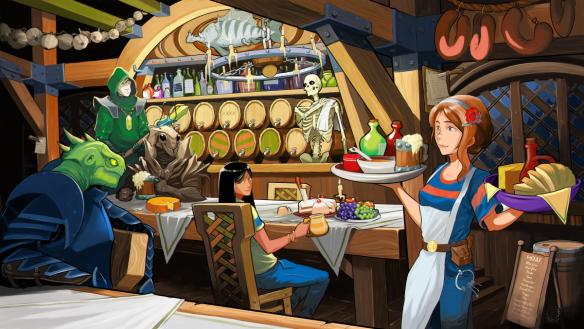 Ein Schankraum. Zu sehen sind Nekromant Pisces, Läuferin Ryoka, Skelett Toren, Gardisten Relc und Klbkch, und natürlich Gastwirtin Erin.