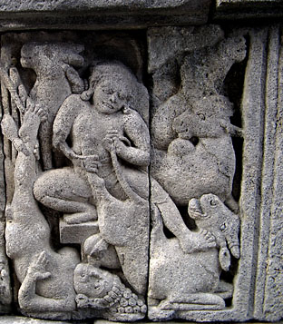 Balarama killing the ass demon Dhenukasura. Candi Vishnu, Indonesia.
