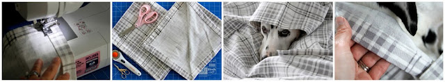 Sewing a cotton flannelette blanket for dogs