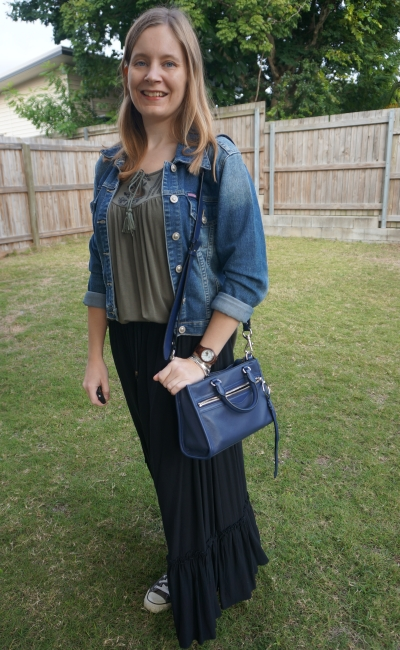 denim jacket, embroidered tank and ruffle hem maxi skirt outfit for winter | away from blue