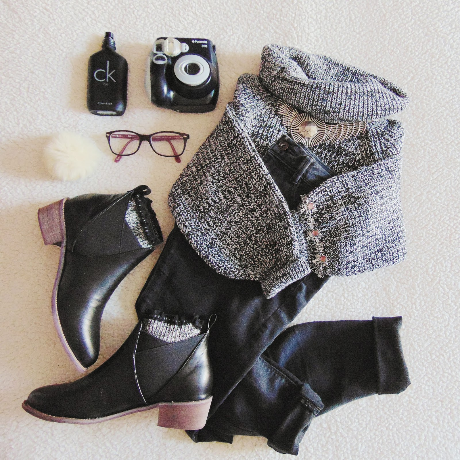 outfit flat lay Black n' Gray