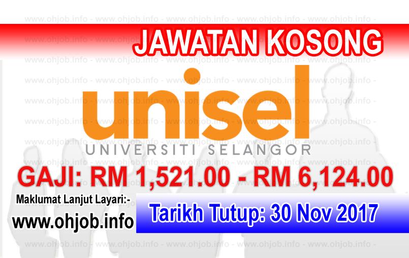 Jawatan Kerja Kosong UNISEL - Universiti Selangor logo www.ohjob.info november 2017