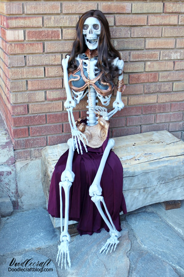 Dress up your life-size skeleton like Princess Leia in her slave girl costume this Halloween. The perfect greeter for trick-or-treaters! What will Halloween look like at your house? Will you participate in a Trunk-or-Treat? I'd love to hear more low-contact options in the comments! Get everything you need for the holidays at Oriental Trading.