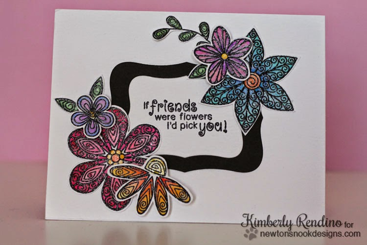 Beautiful Blossoms card by Kimberly Rendino | Newton's Nook Designs | flowers | watercolor