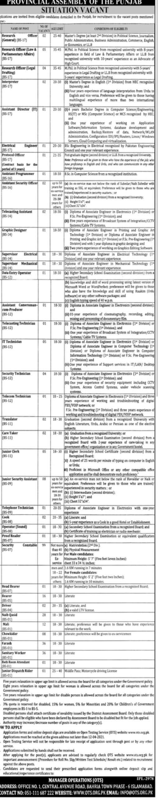 Punjab Assembly Jobs 2021 - Punjab Assembly Jobs 2021 Application Form - Punjab Assembly Jobs 2021 Advertisement