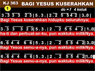 Kord Gitar Lagu Kidung Jemaat 363 - Bagi Yesus Kuserahkan
