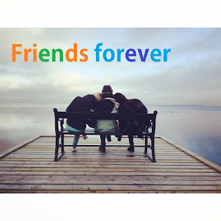 3 friends forever dp  with friends at chair