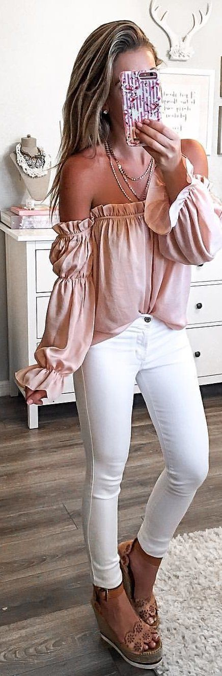 fashionable spring outfit / off shoulder blouse + white skinnies + platform sandals