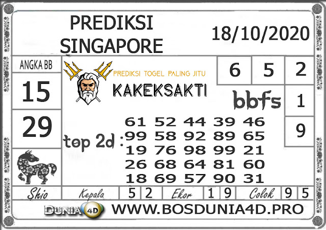 Prediksi Togel SINGAPORE DUNIA4D 18 OKTOBER 2020