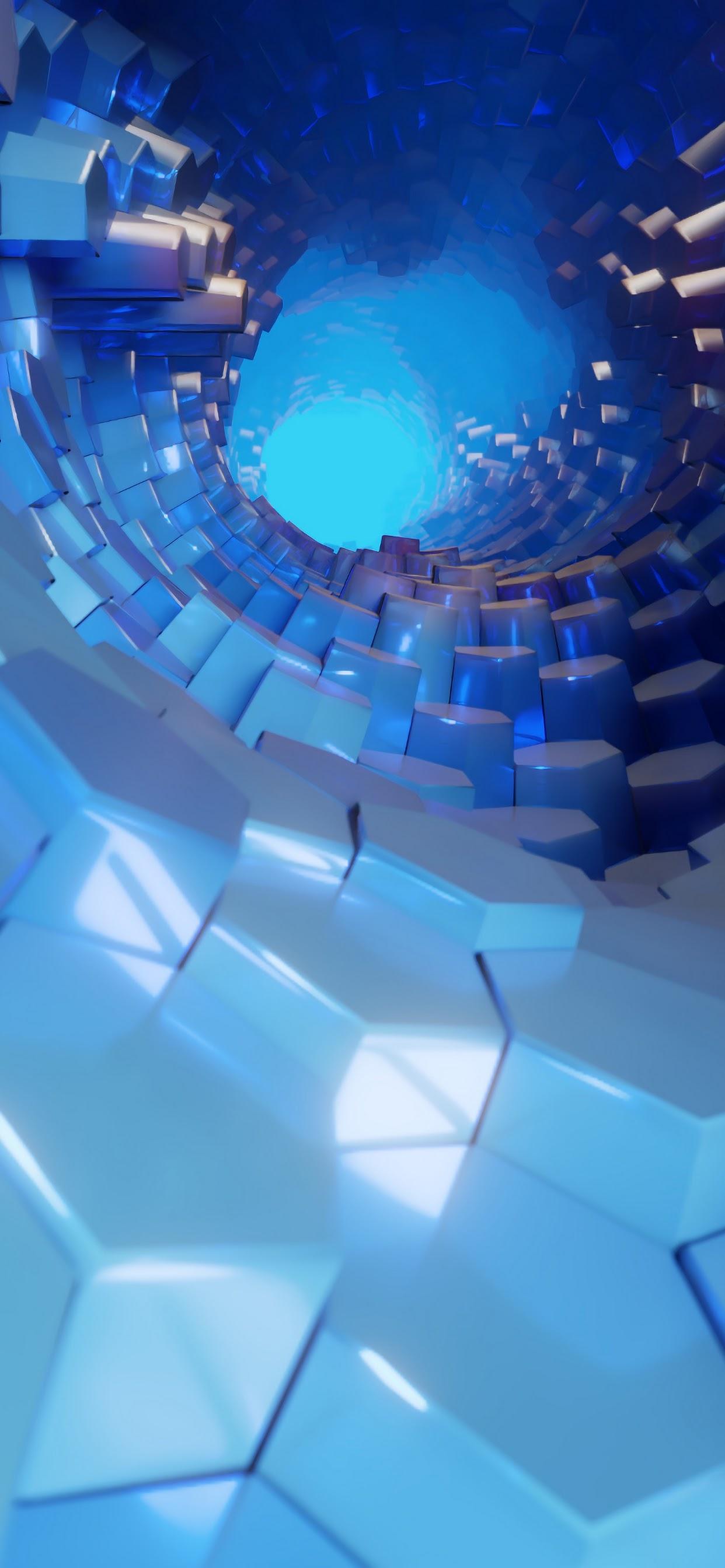 Hexagon 3d Blue Abstract 4k Wallpaper 51
