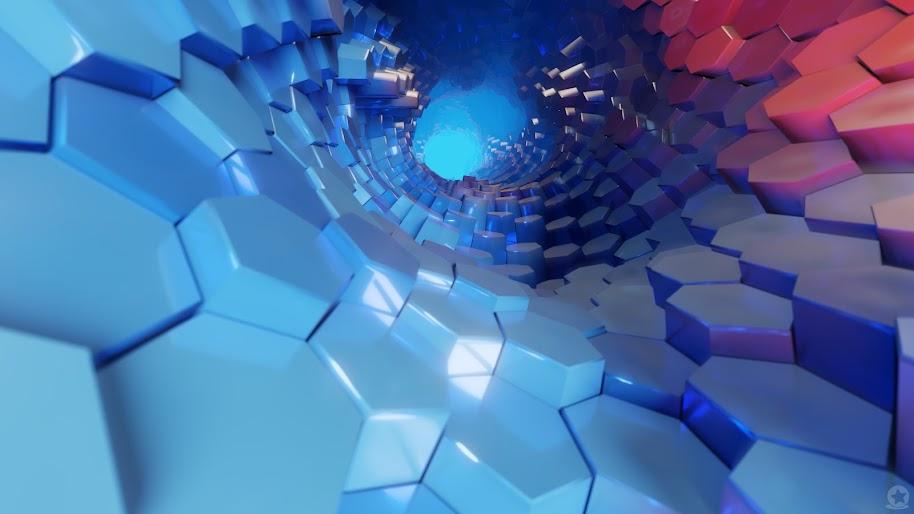 Hexagon, 3D, Blue, Abstract, 4K, #51 Wallpaper