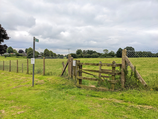 The gate and footpath at the start of the walk
