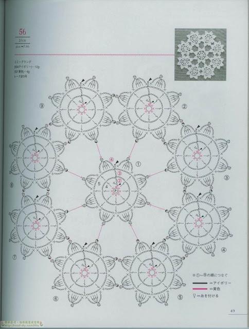 Minimotivos Florais de Crochê Com Gráfico 18