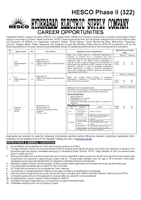 Hyderabad Electric Supply Company  wapda Jobs 2020 Male and Female