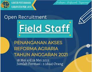 Lowongan Kerja Field Staff Kantor Pertanahan Pidie Jaya Lulusan D1