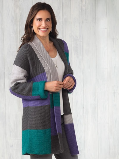 Color Block Cardigan Sweater Knitting Pattern