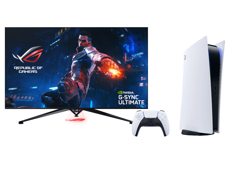 Get a FREE Sony PlayStation 5 when you buy an ASUS ROG Swift PG65UQ 4K 120Hz monitor!