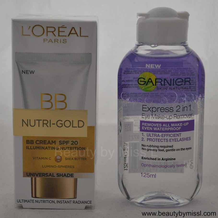 L´Oreal Nutri-Gold BB Cream, Garnier Eye makeup remover