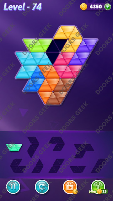 Block! Triangle Puzzle Proficient Level 74 Solution, Cheats, Walkthrough for Android, iPhone, iPad and iPod