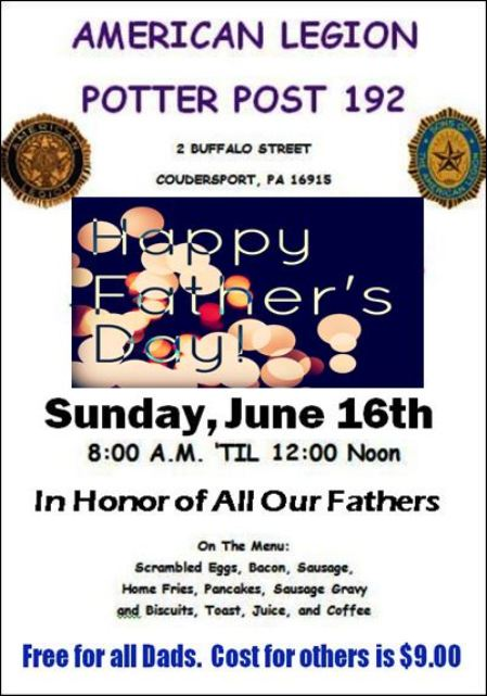 6-16 Fathers Day Breakfast, Coudersport Legion